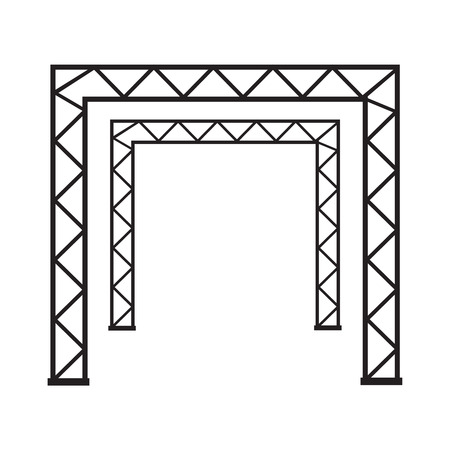 Steel truss girder 3d construction. Metal truss framework vector illustration 写真素材 - 127721235