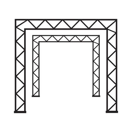 Steel truss girder 3d construction. Metal truss framework vector illustration Illustration