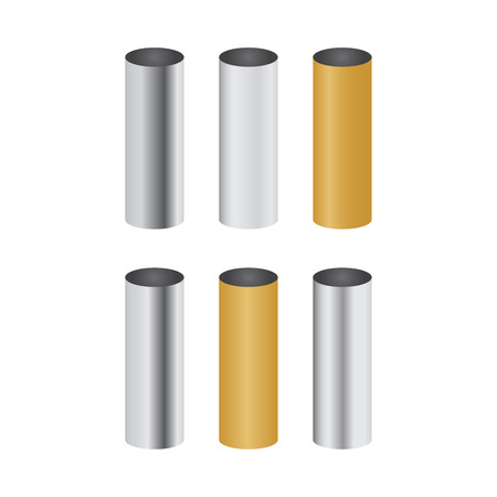 Chrome metal polished gradients. Pipe vector set