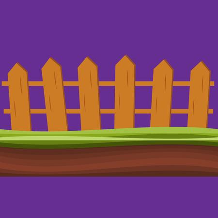 Cartoon rural wooden fence in green grass vector illustration. Wood farm fence outdoor.