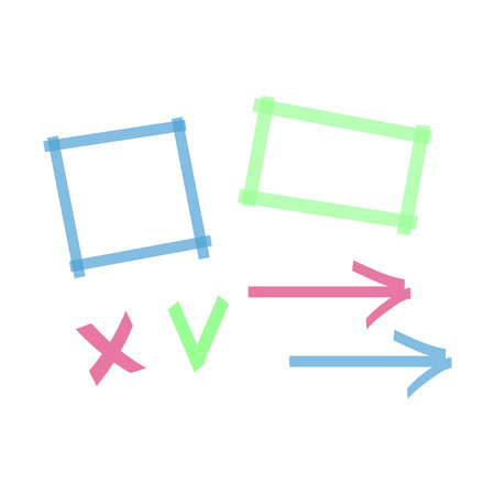 Highlighter marks, stripes, strokes, frames, speech bubbles, crosses, ticks and arrows vector set. Elements drawn with colored marker
