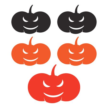 Halloween pumpkin faces. Angry autumn halloween background Ilustração