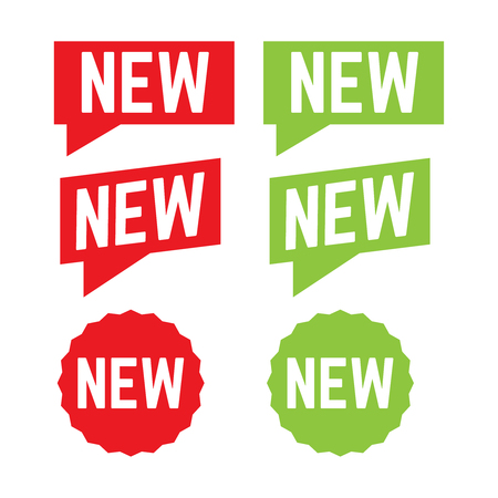 New stickers vector. Corner red banners. New label tag 写真素材 - 127721251