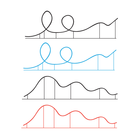Rollercoaster vector. Rollercoaster vector silhouette park icons