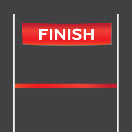 Finish line with red textile banner. Finish line victory banner