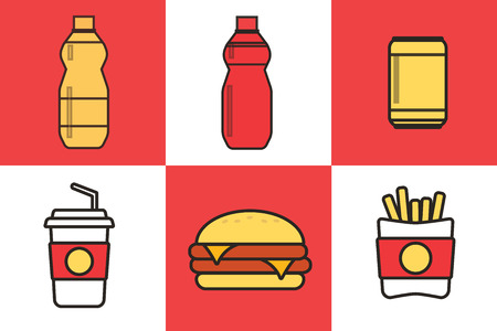 Fast food snacks and drinks flat vector icons. Fastfood icons. Snack bag vector food