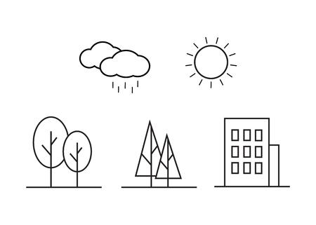 Linear landscape elements vector icons set 向量圖像