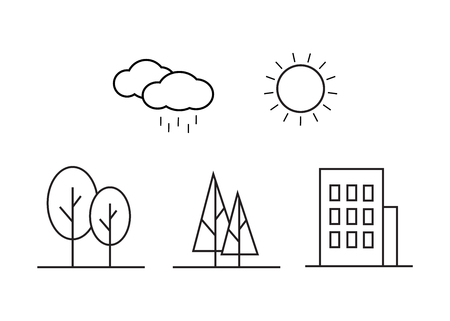 Linear landscape elements vector icons set Illustration