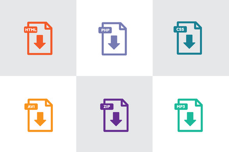 File download icon. Document icon set. PDF file download icon 일러스트