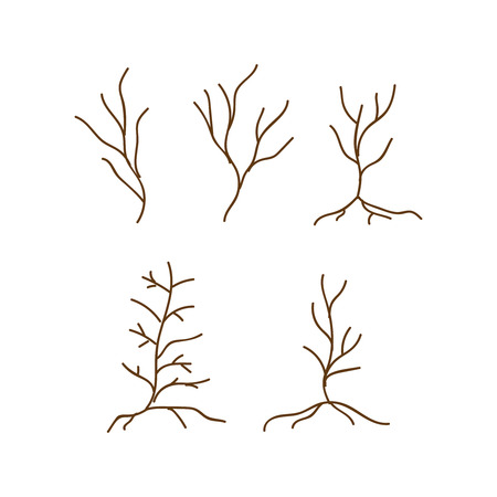 Old dark trees. Dead forest trees icons. Silhouette dead tree vector illustration