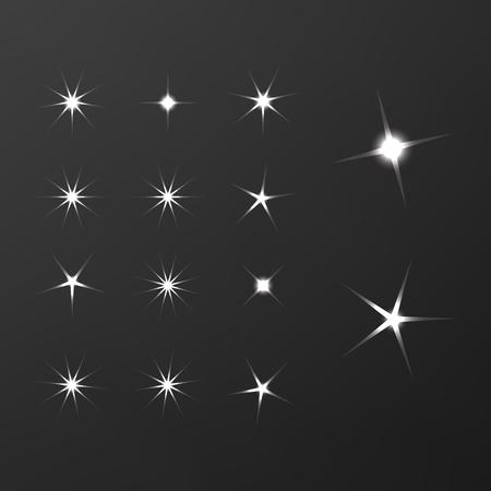 Shiny sun set rays. Glowing stars background. Sparkle star bright sign Zdjęcie Seryjne - 113228925