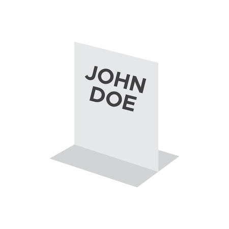 Name plate acrylic holder sign. Business card with name holder Ilustrace