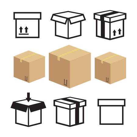 Carton box and packaging icon. Box delivery icons