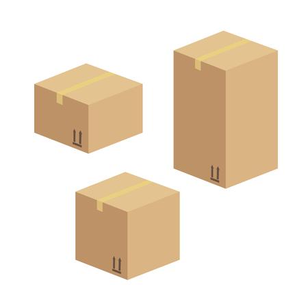 Consegna e scatola di imballaggio. Pacchetto magazzino di consegna