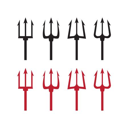 Trident silhouette pitchfork weapon. Devil trident vector illustration