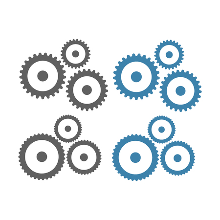 Gears vector icons. Gear wheel machine signs