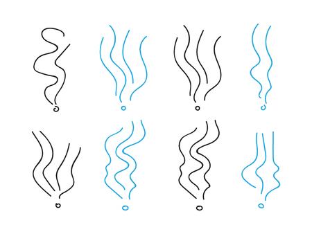 Signes en spirale d'odeur de fumée. Ensemble d'illustration d'éléments vectoriels de fumée