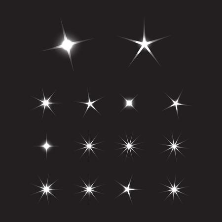 Rayos de puesta de sol brillante. Fondo de estrellas brillantes. Signo brillante estrella brillante