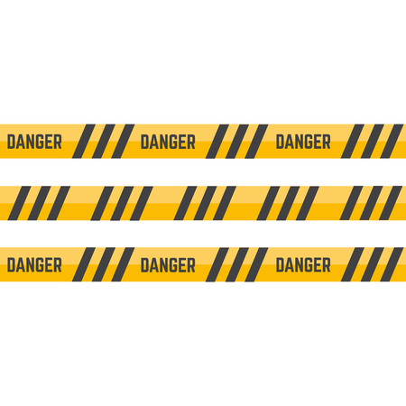 Yellow caution tape or warning tape. Stripe tape danger police line