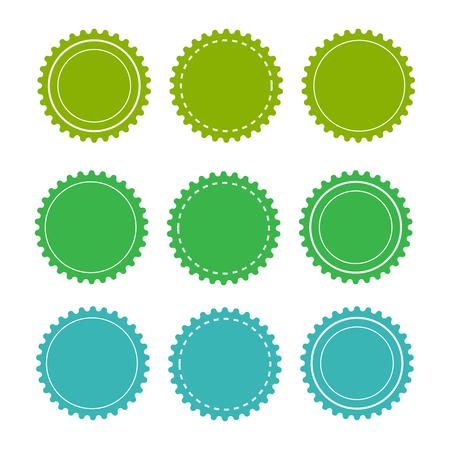 Öko-grüne Abzeichen und Etiketten. Organischer Abzeichenhintergrundvektor Vektorgrafik