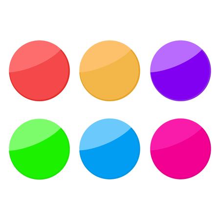 Pin magnet button. Circle color vector button