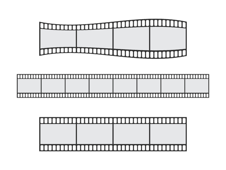 Cinema film strip roll 35mm blank slide frame vector set. Frame picture photography and cinema film strip frame illustration