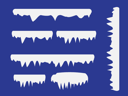 Snow and ice vector frames. Winter cartoon snow caps, snowdrifts and icicles. Illustration of snowcap for web design Ilustração