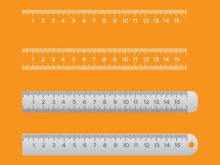 Metallic school rulers. Ruler centimeter, millimeter, decimeter vector illustration 일러스트