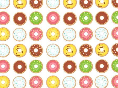 Donut dessert background. Donuts pattern. Doughnut bakery tasty vector illustration