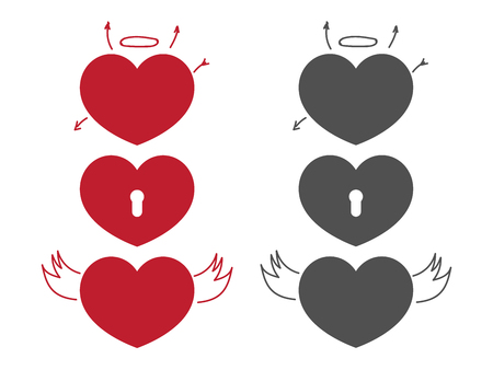 Simple heart icons. Set of red hearts vector illustration