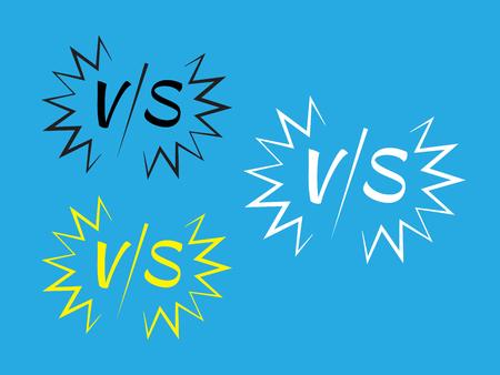 Versus fight vector signs. Vs battle  set