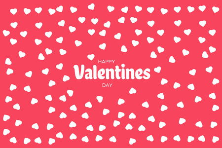 Falling valentine hearts confetti. Greeting card design. Happy Valentines Day lettering greeting card