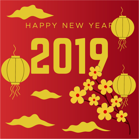Happy chinese new year 2019 Zodiac sign. Traditional Red hanging lantern and gifts box. Translation hieroglyph Chinese New Year