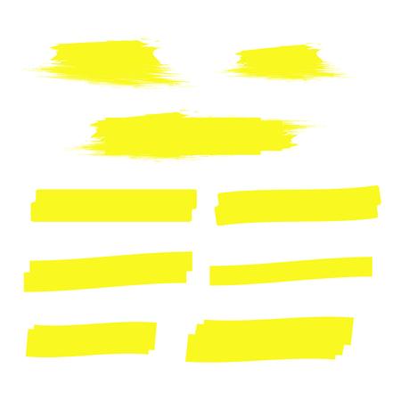 Linee di evidenziazione gialle. Vettore di tratti evidenziatore. Segni di marcatore