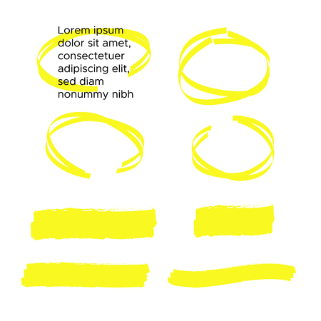 yellow colored highlighter. Brush pen underline. Yellow watercolor hand drawn highlight Çizim