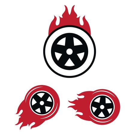 Racing flat labels set. Blaze and flash auto transport, flame tire. Racing flat labels vector