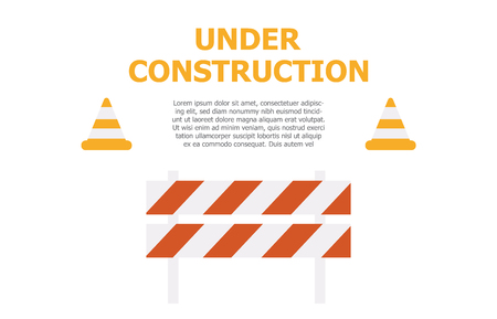 Website under construction page background. Warning tape banner Ilustrace