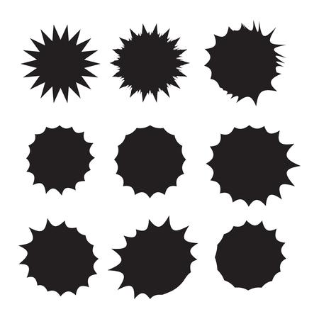 Starburst isolated icons set. Starburst explosion comic shapes. Speech boom bubble 矢量图像