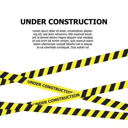 Under construction website page. Under construction warning banner