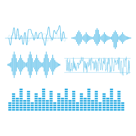 Sound waves vector. Sound waves sign and symbol in flat style