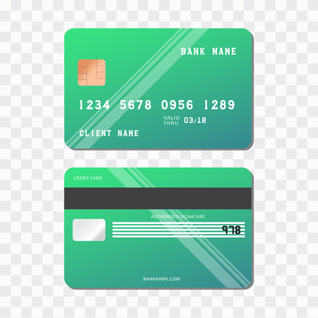 Card credit vector icon. Realistic vector Bank Credit Card two sides Illustration