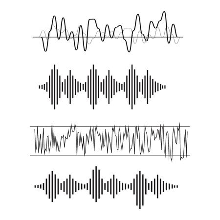 Segno di onde sonore e simbolo in stile piatto