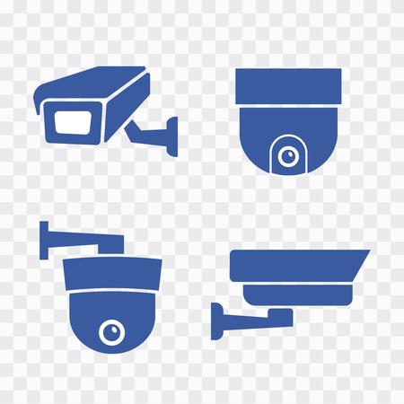 Camera cctv security icon. Video surveillance security cameras vector icons set. Black camera cctv