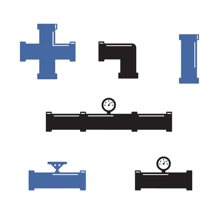 Water pipes and taps vector silhouette. Pipe fittings vector icons set Illustration