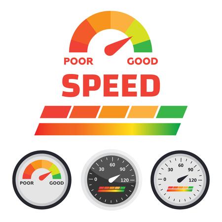 Speedometer, tachometer vector. Arrow score good indicator 写真素材 - 125339574