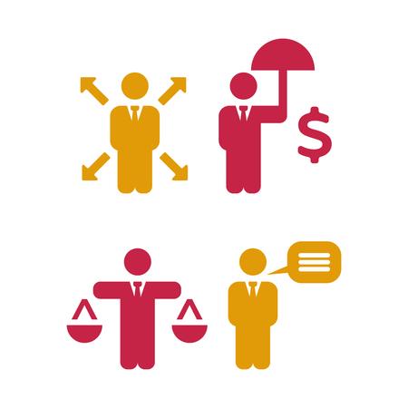Icônes de politiques commerciales. Jeu d'icônes vectorielles affaires