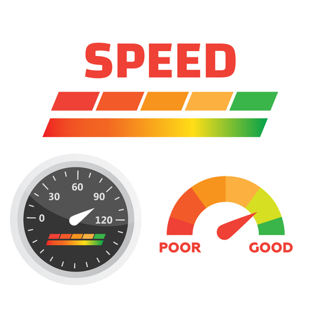 Car dashboard gauge. Speed meter vector. Arrow auto barometer Illustration