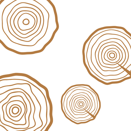 Vector tree rings. Wood texture vector. Abstract circle tree background Vector Illustration