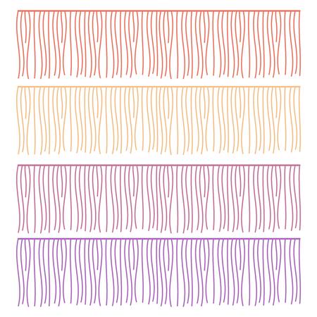 Composant de vêtements de vecteur de lignes de franges. Pompon de bordure de brosse, garniture