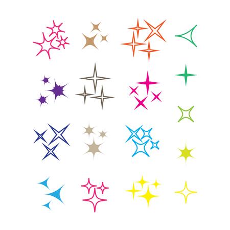 Sparkles, glowing light effect stars and bursts. Bright firework, decoration twinkle, shiny flash Çizim